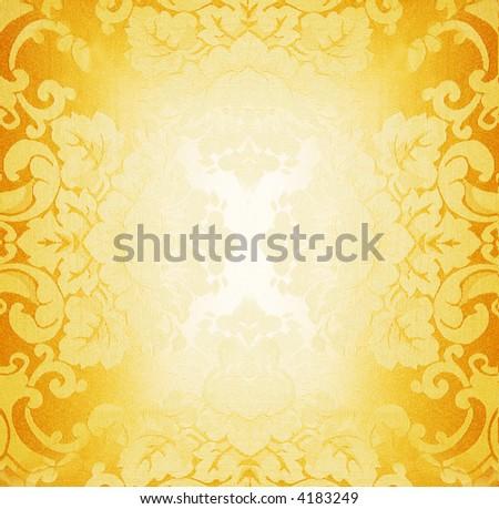 Golden fabric pattern - stock photo
