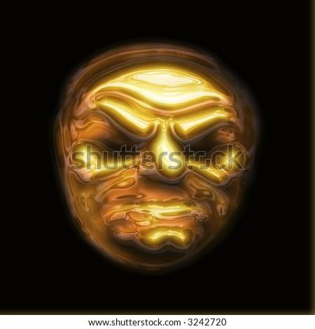 golden face - stock photo