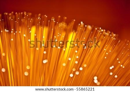 Golden fibre optic strands. - stock photo