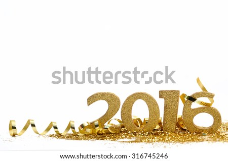 golden figures 2016 on glitter and white background - stock photo