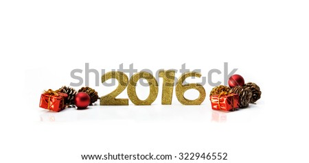 golden figures 2016 with gifts and pin cones on white background  - stock photo
