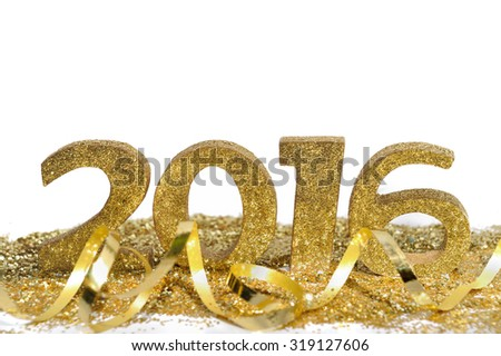 golden figures 2016 with glitters and ribbon  on white background