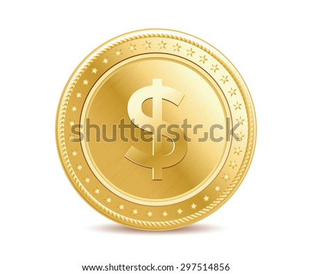 Golden finance isolated dollar coin on the white background