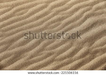 Golden fine grain beach sand wavy texture. Beach sand backdrop. - stock photo
