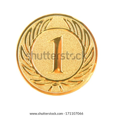 golden first place medal isolated on white background - stock photo