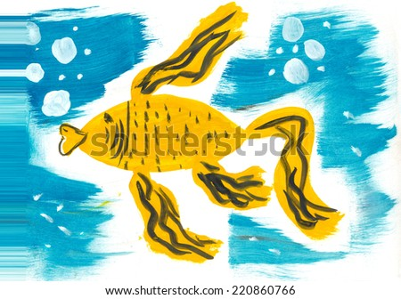Golden fish swimming in the blue sea. Kid's drawing. - stock photo
