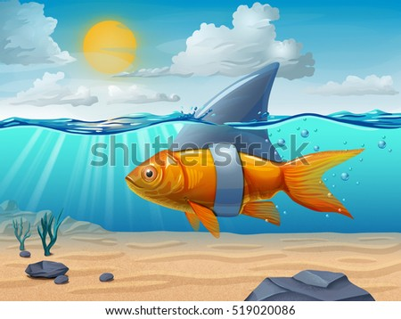 Golden fish wearing a shark fin. Digital illustration.
