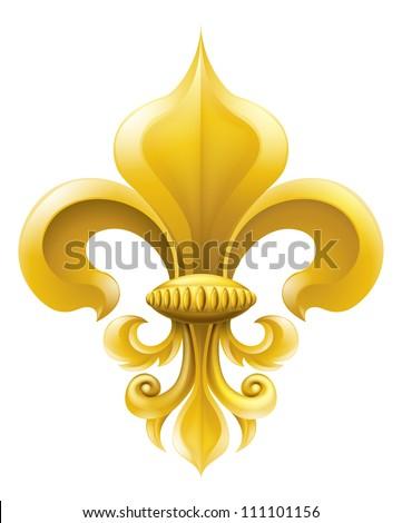 Golden fleur-de-lis decorative design or heraldic symbol. - stock photo