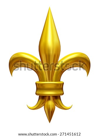 golden fleur-de-lis, lily, gladiolus, symbol of the french monarchy - stock photo