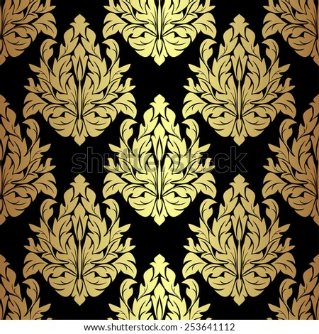 Golden floral seamless Pattern on black. Raster version. - stock photo