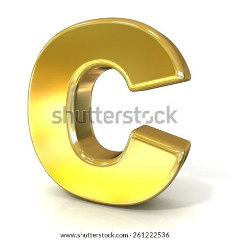 Golden font collection letter - C. 3D render illustration, isolated on white background. - stock photo