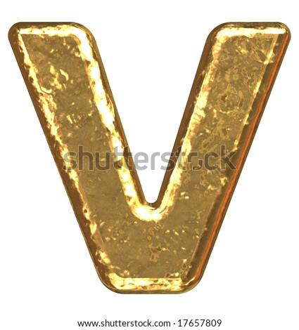 Golden font. Letter V. - stock photo