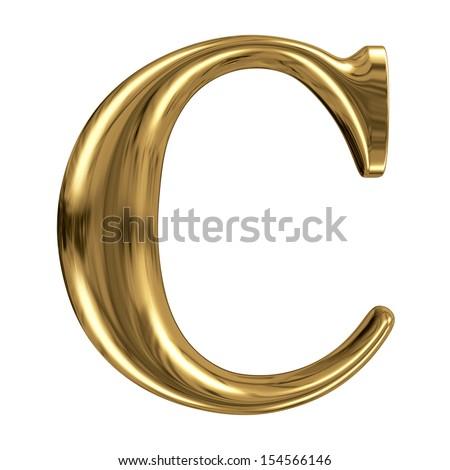 Golden font type letter C, uppercase - stock photo