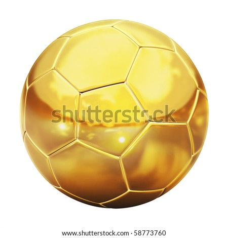 golden football (soccer ball) on the white background 3d illustration