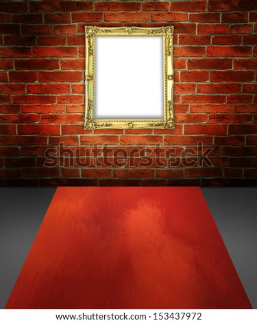 Golden frame at brick wall in imagination room - stock photo