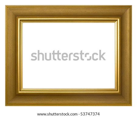 Golden frame for painting and photography. Isolated on a white background. - stock photo