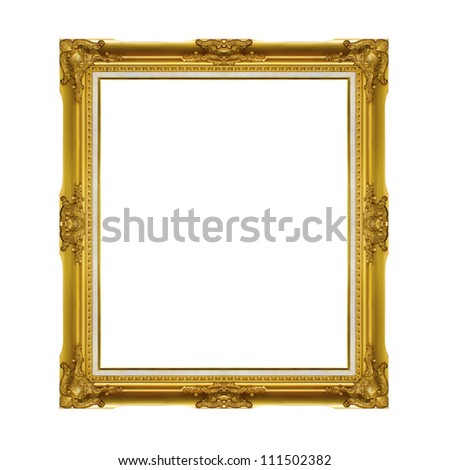 Golden frame isolated on the white background - stock photo