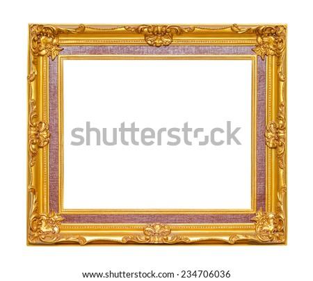 Golden frame isolated on white background  - stock photo