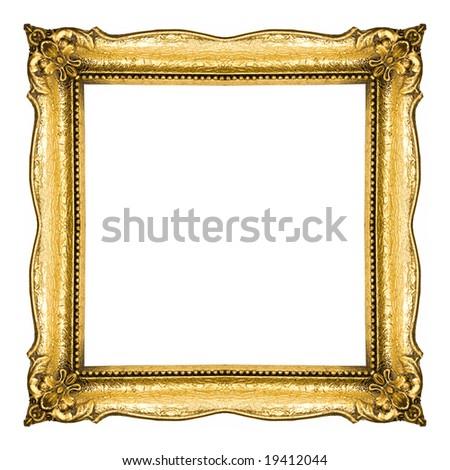 Golden Frame isolated on white background, studio shot - stock photo