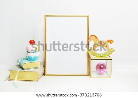 Golden Frame mockup. Place your work.  Horse and book with ice cream. Template print art, shabby style, white background. - stock photo