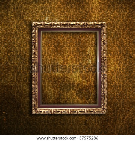Golden Frame Over Grunge Brown Wallpaper Stock Photo Royalty Free