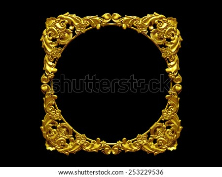 golden frame with baroque ornaments for pictures or mirror - stock photo