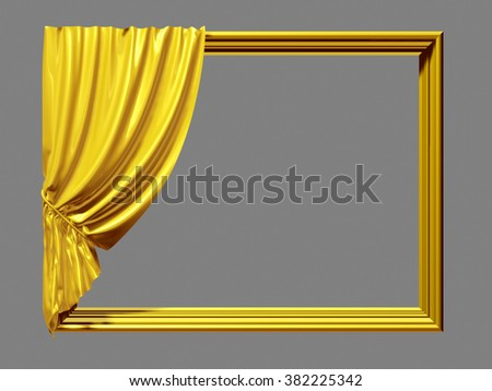 golden Frame with Curtain - stock photo
