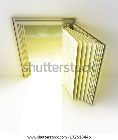 golden frame with door as open book illustration - stock photo