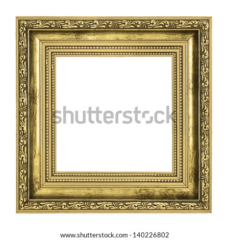 golden frame with thick border isolated on white background - stock photo