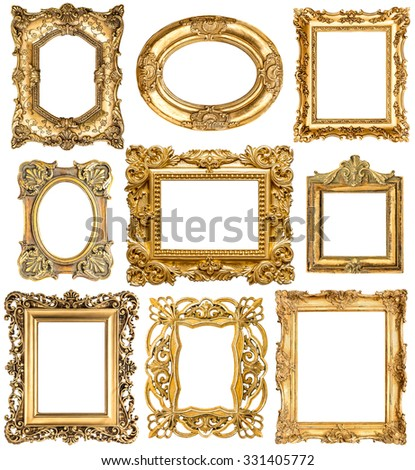 Golden frames isolated on white background. Baroque style vintage objects. Collection of antique picture frames.  - stock photo