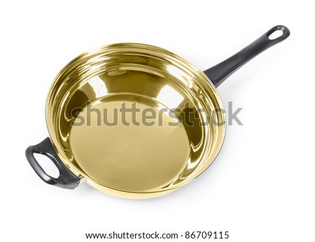Golden frying pan isolated - stock photo