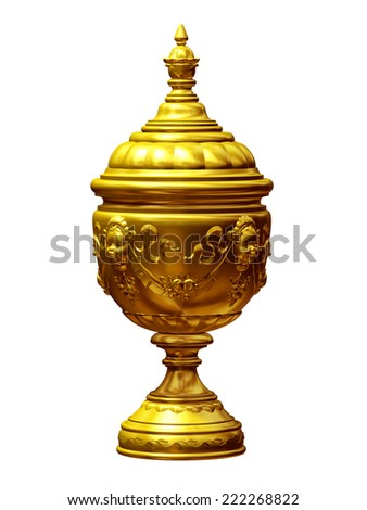 golden garden urn  - stock photo