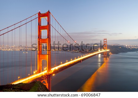Golden Gate at twilight hour - stock photo