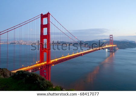 Golden Gate at twilight time. - stock photo