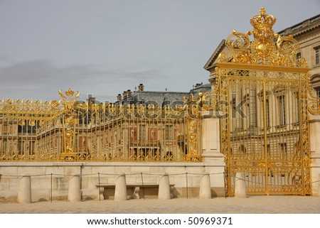 golden gate at versailles palace - stock photo