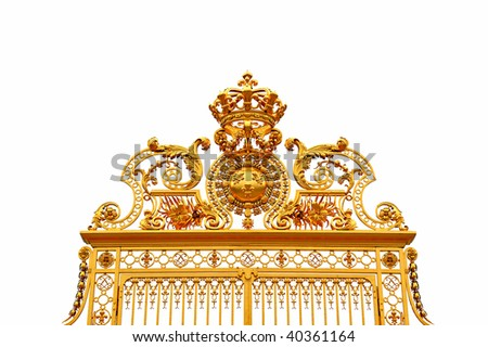 Golden gate at Versailles Palace, isolated - stock photo