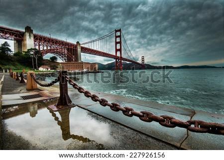 Golden Gate Bridge after raining  - stock photo