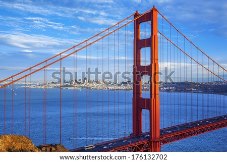 Golden Gate Bridge and downtown San Francisco, USA - stock photo