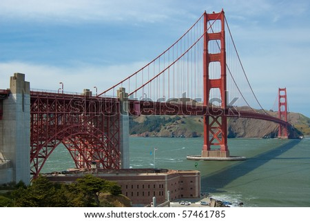 Golden Gate Bridge and Fort Point on a fine morning on blue sky with white clouds - stock photo