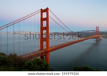 Golden Gate Bridge and San Francisco city - stock photo