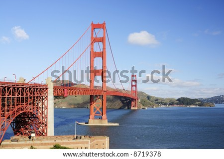 Golden Gate Bridge and the roof of Fort Point - landscape orientation. - stock photo