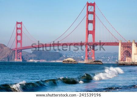 Golden Gate Bridge as seen from Baker Beach - stock photo