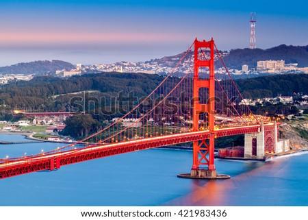 Golden Gate Bridge at dusk - stock photo
