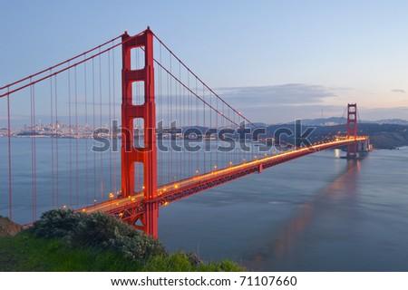 Golden Gate bridge at dusk. - stock photo