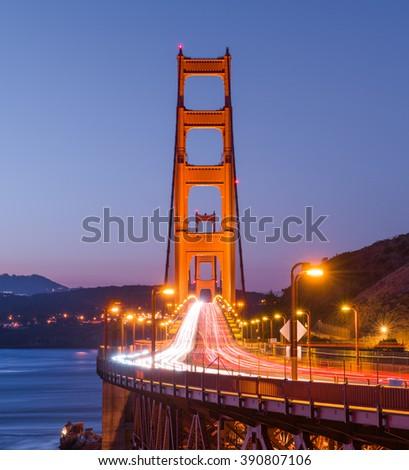 Golden Gate Bridge at dusk. Landmark of San Francisco  - stock photo