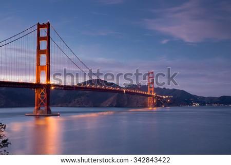 Golden-Gate Bridge at Dusk, San Francisco, California - stock photo