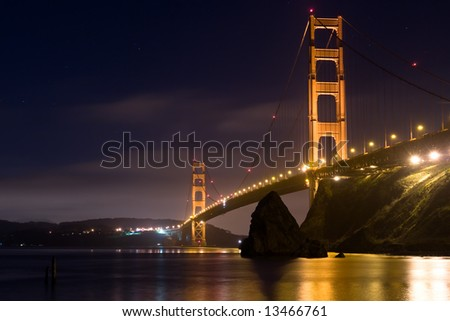 Golden Gate Bridge at Night 3 - stock photo