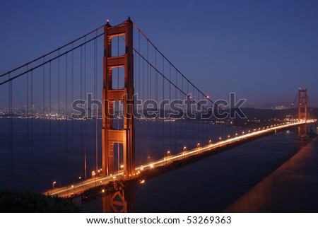 Golden Gate Bridge at night - stock photo