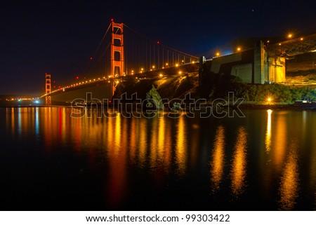 Golden Gate Bridge at night - stock photo