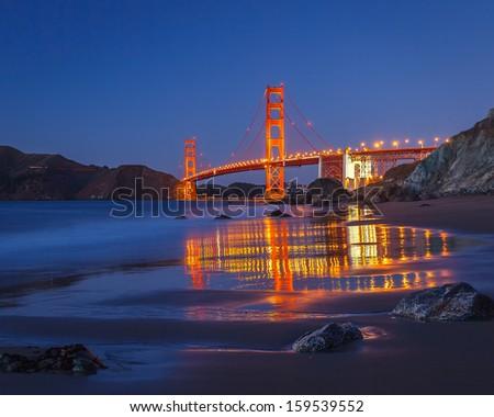 Golden Gate Bridge at night, San Francisco - stock photo